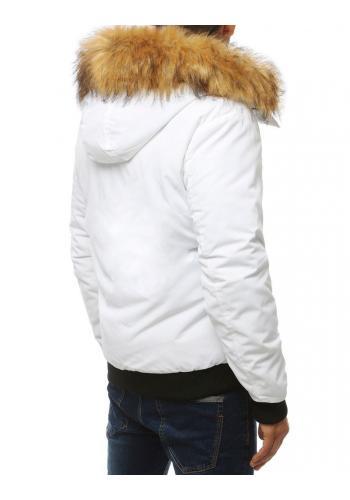 Zimní pánská bunda bílé barvy s kapucí