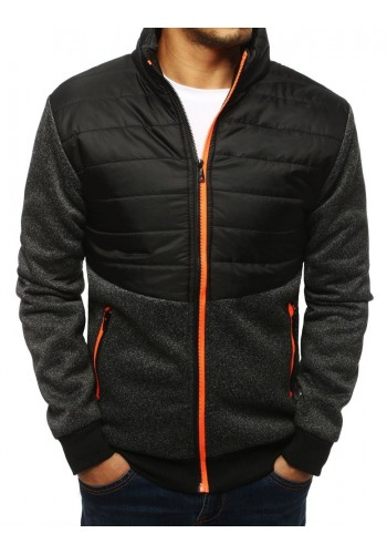 Prošívaná pánská bunda černé barvy na podzim