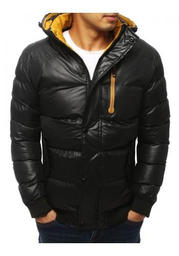 Prošívané pánské bundy černé barvy s kapucí