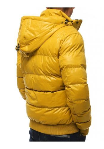 Pánská prošívaná bunda s kapucí ve žluté barvě