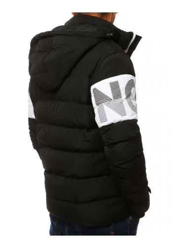 Černá prošívaná bunda s kapucí pro pány