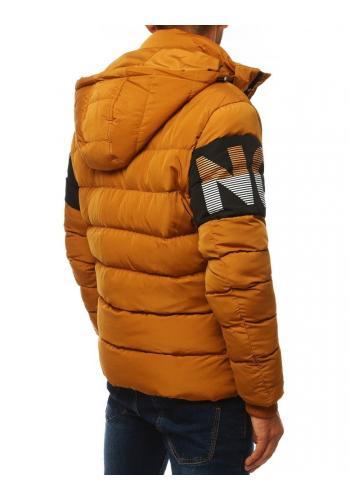Prošívaná pánská bunda velbloudí barvy s kapucí