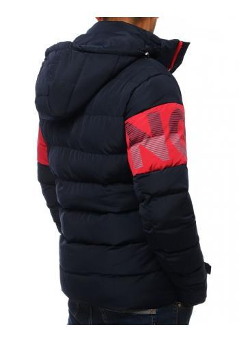 Pánská prošívaná bunda s kapucí v tmavě modré barvě