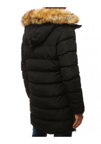 Černá dlouhá bunda na zimu pro pány