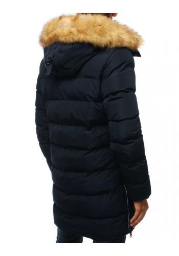 Pánská dlouhá bunda na zimu v tmavě modré barvě
