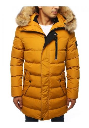 Dlouhá pánská bunda žluté barvy na zimu