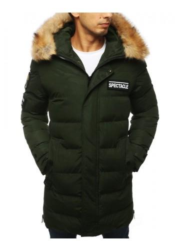 Prošívaná pánská bunda zelené barvy na zimu