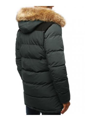 Šedá zimní bunda s kapucí pro pány