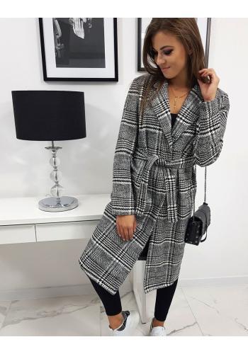 Dámský károvaný kabát s páskem v černo-bílé barvě