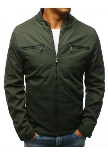 Zelená přechodná bunda bez kapuce pro pány