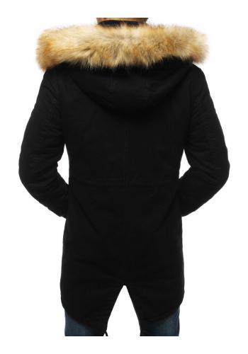 Zimní pánská Parka černé barvy s kapucí