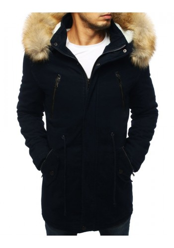 Tmavě modrá zimní Parka s kapucí pro pány