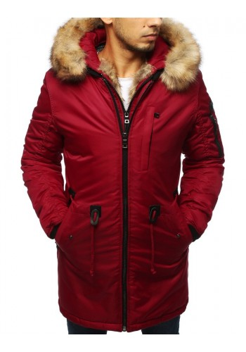 Zimní pánské bundy červené barvy s kapucí