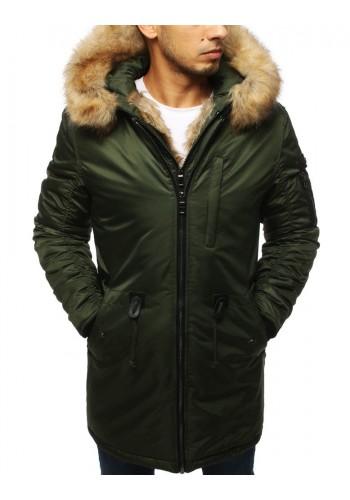 Zelená zimní bunda s kapucí pro pány