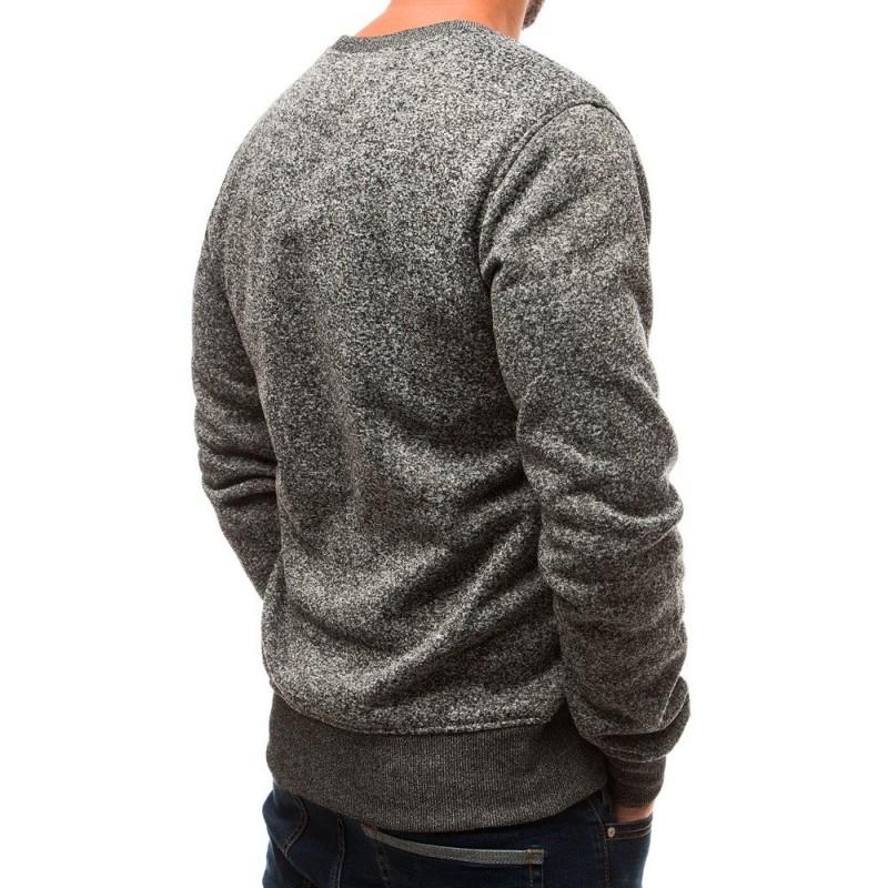 Pohodlná pánská mikina šedé barvy s melanžovým vzorem