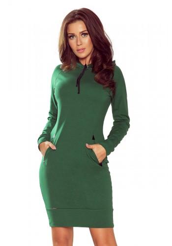 Zelené bavlněné šaty s kapucí pro dámy