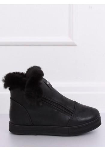 Oteplené dámské tenisky černé barvy s kožešinou