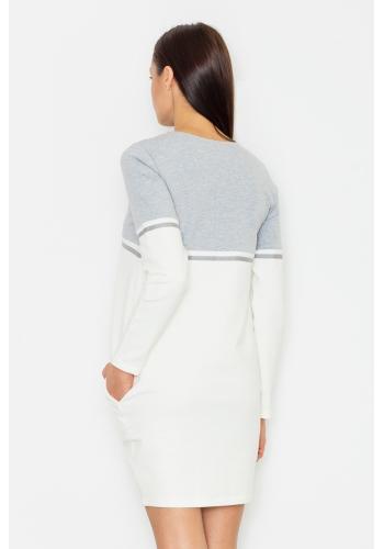 Sportovní dámské šaty v bílo šedé barvě s dlouhým rukávem
