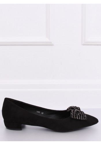 Černé elegantní balerínky s působivou mašlí pro dámy