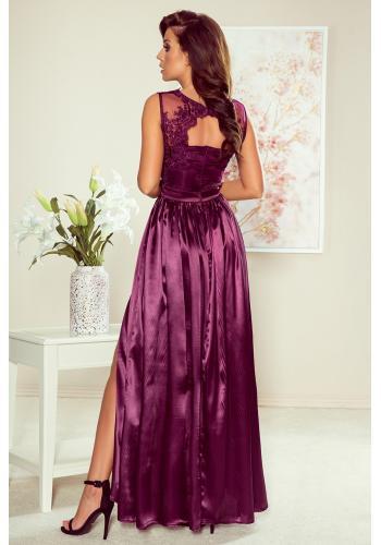 Dlouhé dámské šaty fialové barvy s vyšívaným výstřihem