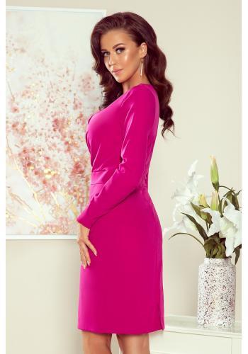 Růžové elegantní šaty s obálkovým výstřihem pro dámy