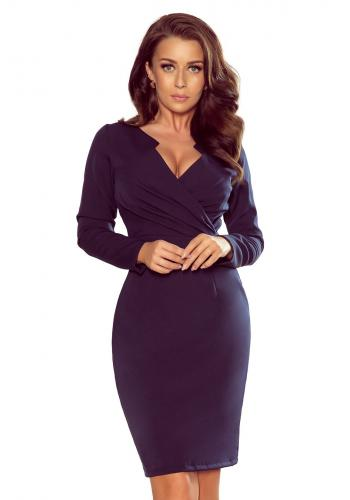 Dámské elegantní šaty s obálkovým výstřihem v tmavě modré barvě
