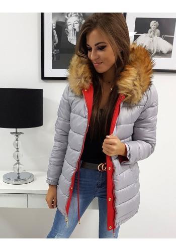 Dámská oboustranná bunda na zimu v červené barvě