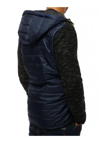 Prošívaná pánská bunda tmavě modré barvy na přechodné období