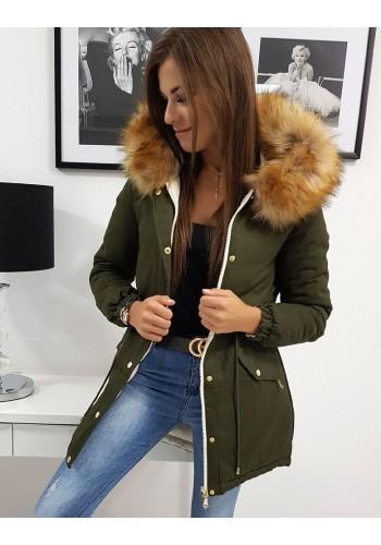 Olivová oboustranná bunda na zimu pro dámy