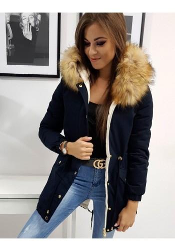 Dámská oboustranná bunda na zimu v tmavě modré barvě