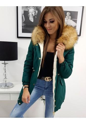 Zelená oboustranná bunda na zimu pro dámy