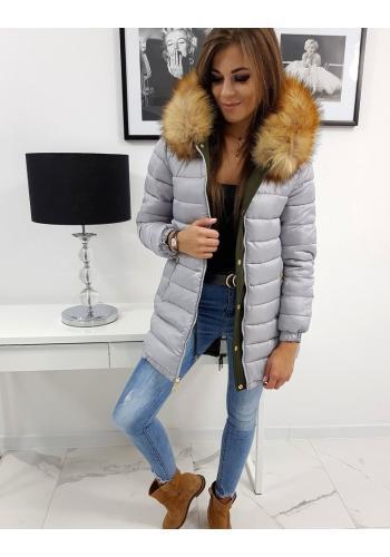 Oboustranná dámská bunda olivové barvy na zimu