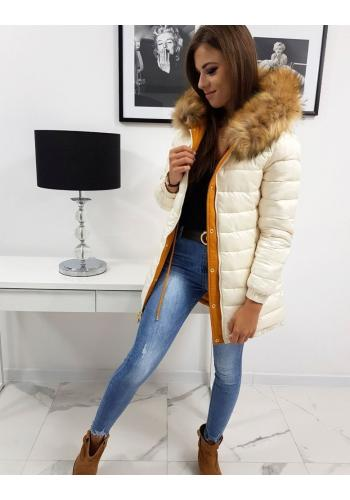 Dámská oboustranná bunda na zimu ve velbloudí barvě