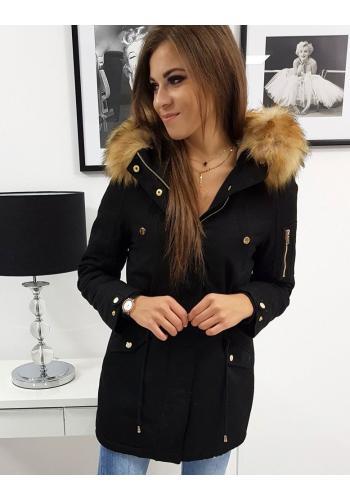 Černá zimní Parka s kapucí pro dámy