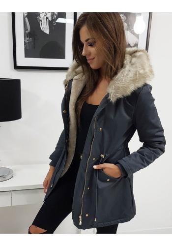 Zimní dámská Parka šedé barvy s kapucí
