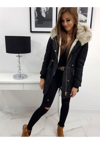 Zimní dámské Parky černé barvy s kapucí