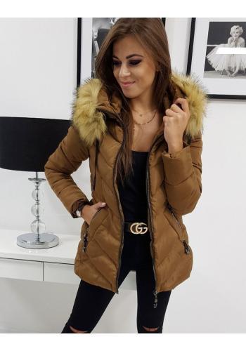 Prošívaná dámská bunda hnědé barvy na zimu