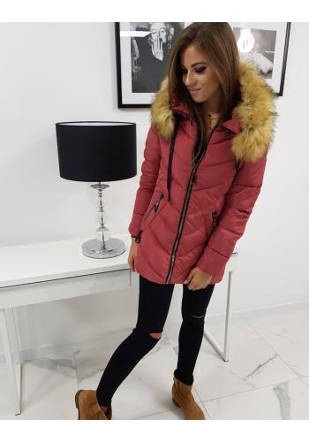Malinová prošívaná bunda na zimu pro dámy