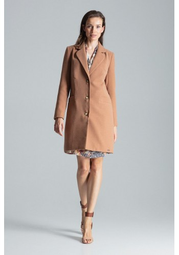Béžový klasický kabát na podzim pro dámy