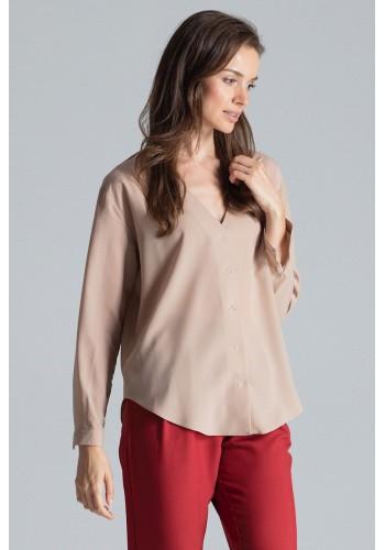 Béžová módní košile s dlouhým rukávem pro dámy