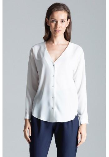 Módní dámská košile bílé barvy s dlouhým rukávem