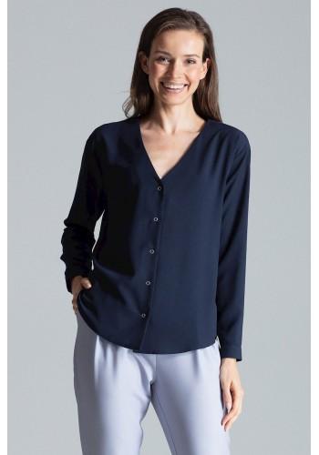 Dámská módní košile s dlouhým rukávem v tmavě modré barvě