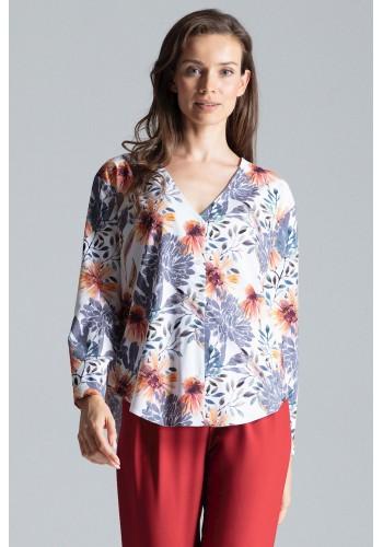 Módní dámská košile bílé barvy se vzorem