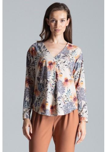 Dámská módní košile se vzorem v béžové barvě