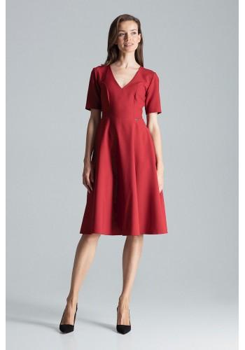 Rozšířené dámské šaty bordové barvy s krátkým rukávem
