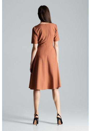 Hnědé rozšířené šaty s krátkým rukávem pro dámy