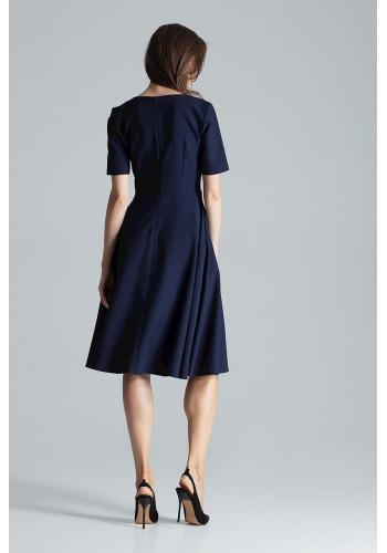 Dámské rozšířené šaty s krátkým rukávem v tmavě modré barvě