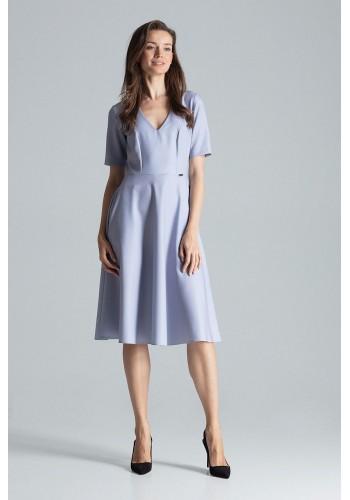 Rozšířené dámské šaty šedé barvy s krátkým rukávem