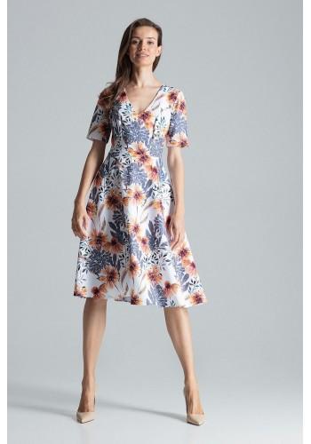 Bílé rozšířené šaty se vzorem pro dámy