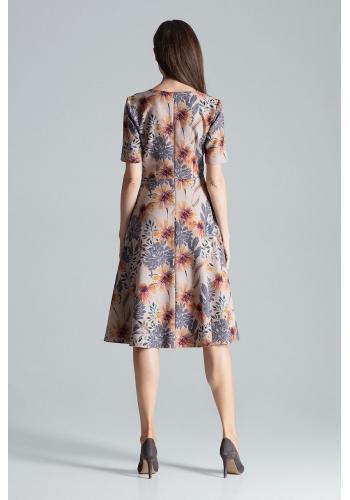 Dámské rozšířené šaty se vzorem v béžové barvě